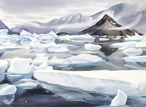 Arctic Dream, 22in. x22in. watercolor