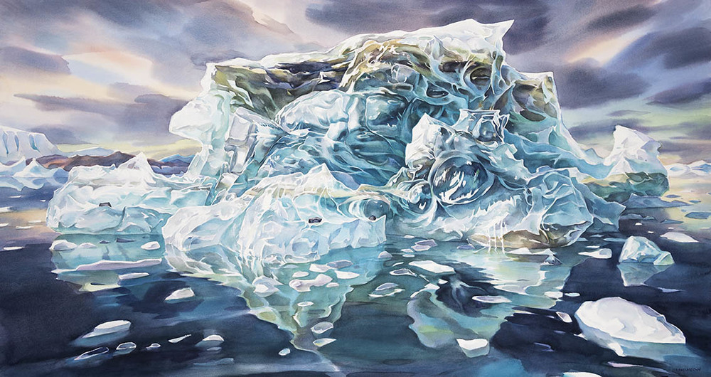 Ancient Ice #2, 28 x54inches , watercolor