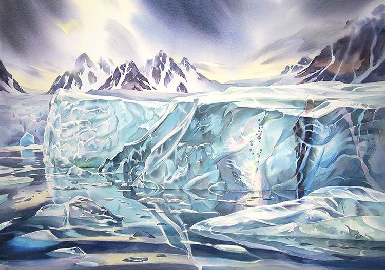 """Surfacing Ice"", 20in x 30in watercolour Svalbard - Norway (available for sale)"