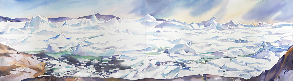 Ilulissat Ice  fjord - Jacobsharvn glacier, 15 x 44in watercolour, diptych  - Greenland (available for sale)