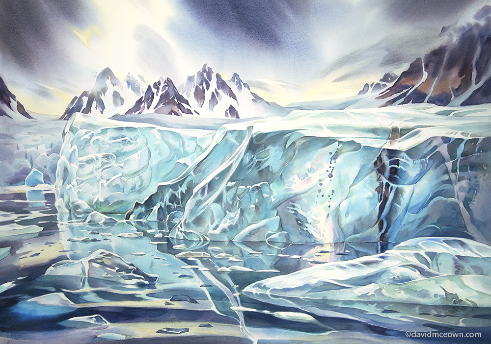 """Surfacing Ice"", 22 x30 inches watercolour"