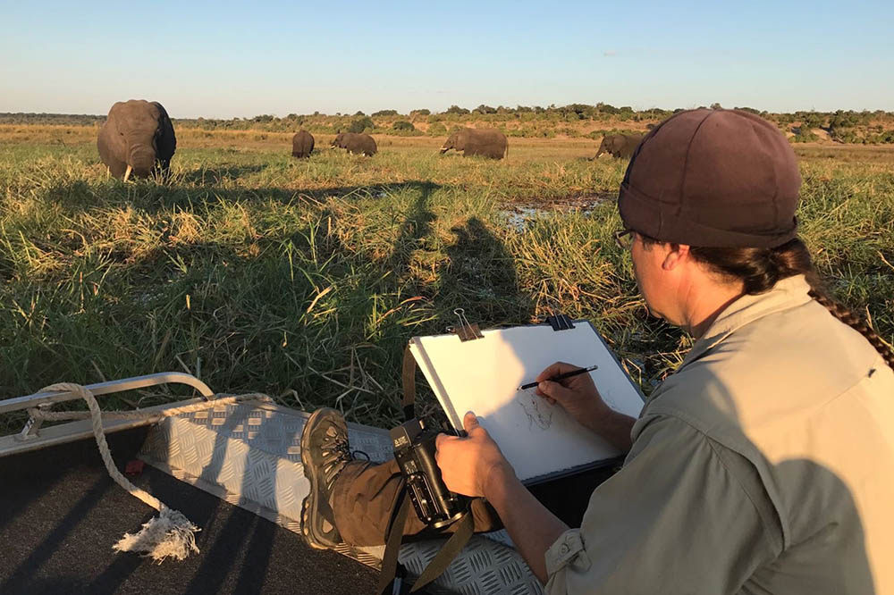 David sketching on location