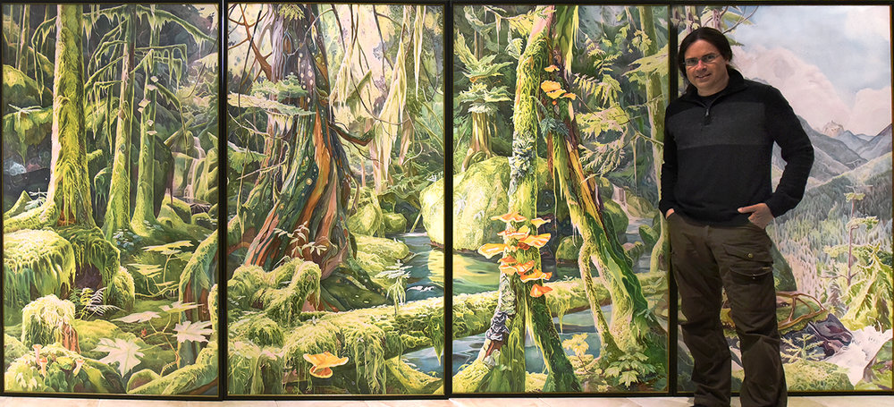 """""""Forest Primeval"""" Clayoquot River Valley (mural) 72 x 180 inches watercolour on paper. (sold)"""