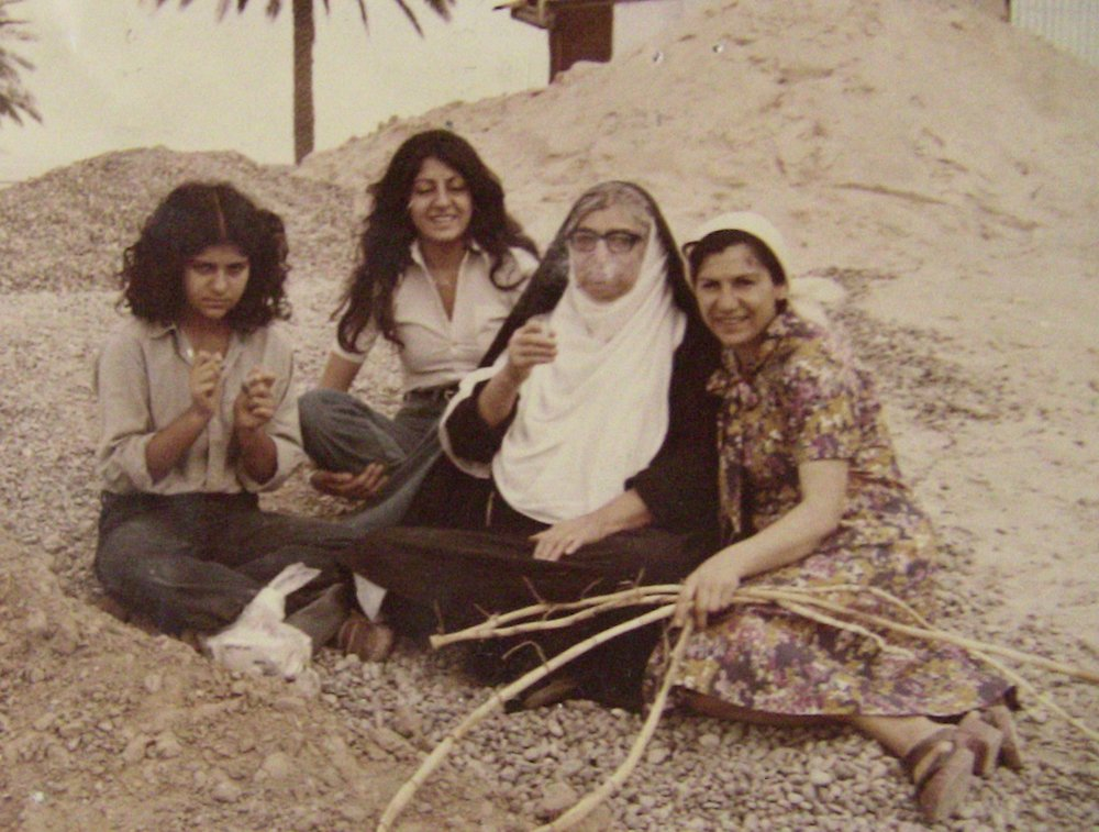Smoke break on the Tigris River with my sister, grandmother and mother. I am second from left. Iraq 1977.