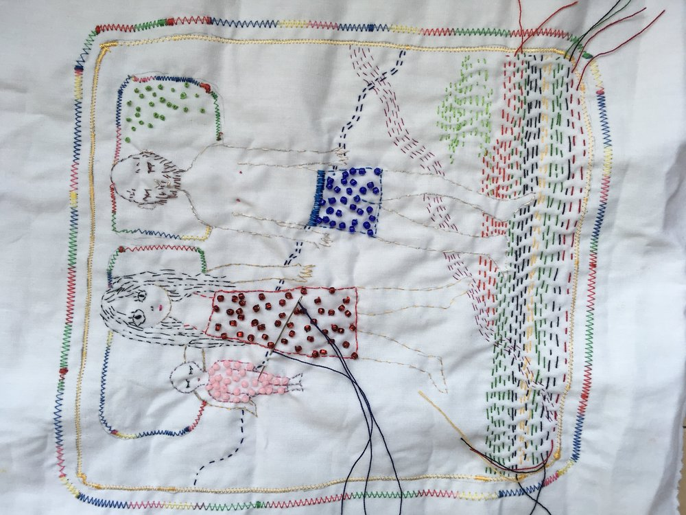 Embroidery collaboration in progress