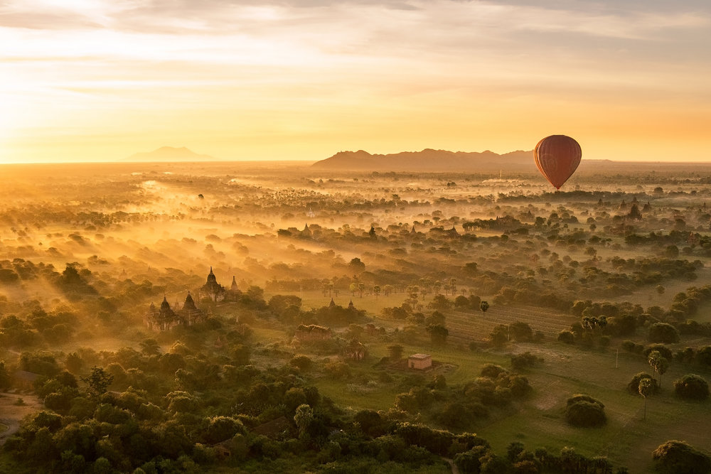 Balloon Over Bagan at Sunrise