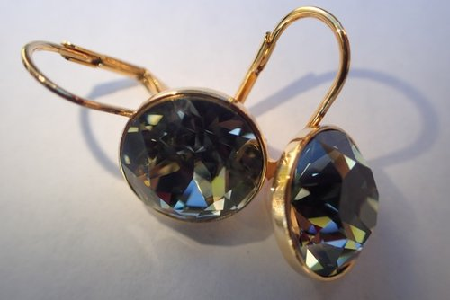 Mommy Nurse's Bella Earrings Black diamond genuine Swarovski , 16K Gold  plated   100% nickel free, hypoallergenic