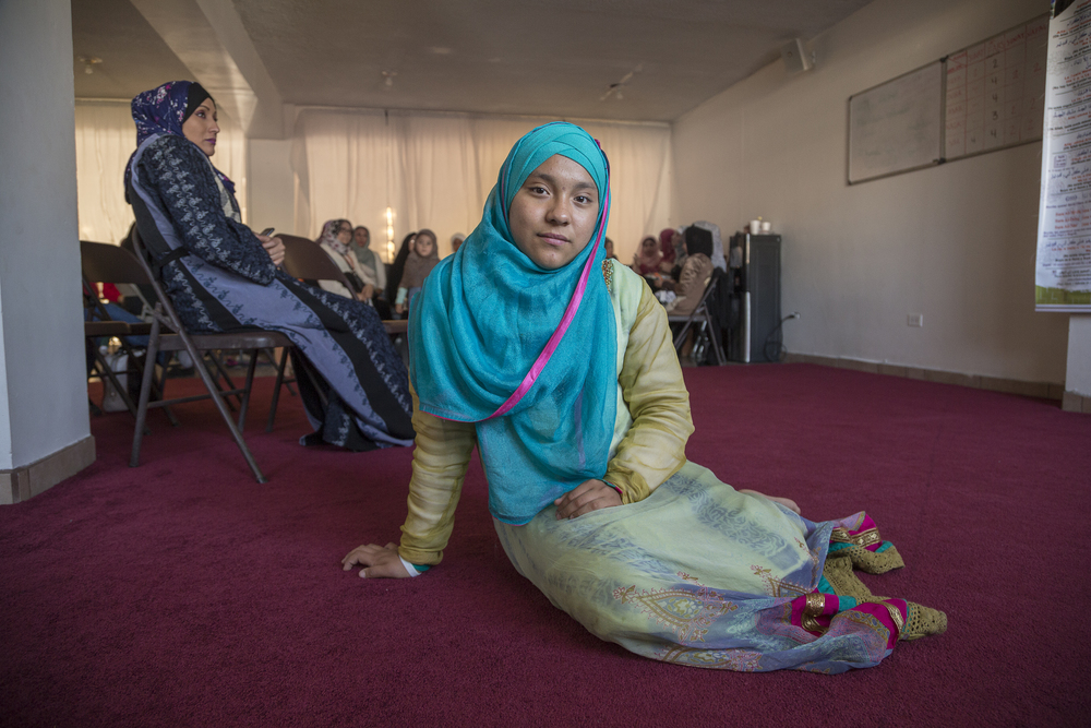 Tabatha Garcia, 12, poses at a gathering in the mosque of Omar, in Playas de Tijuana. Tabatha converted to Islam one year ago with her mother and little sister.   (Photo by Griselda San Martin)