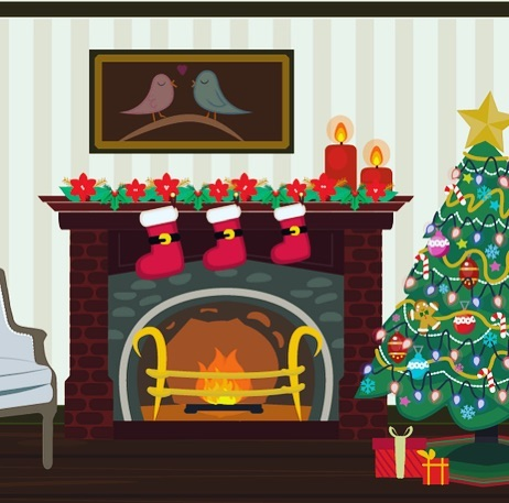 #christmas #christmastree🎄 #fireplace ⭐️ #illustration #backgrounds #drawing #art