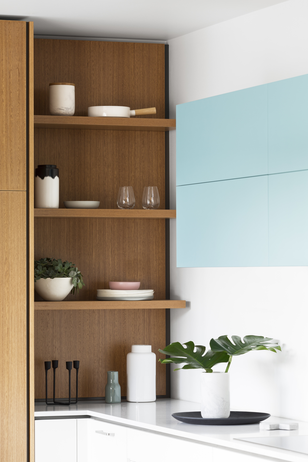 Cantilever Interiors Kitchen 2, featuring blackbutt shelving | cantileverinteriors.com