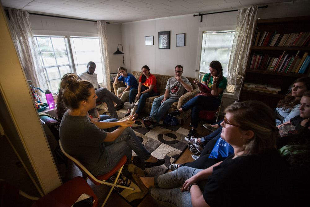 Emory University students during an orientation at El Refugio, Saturday, Sept. 12, 2015, in Lumpkin, Ga. (Photo by Branden Camp)