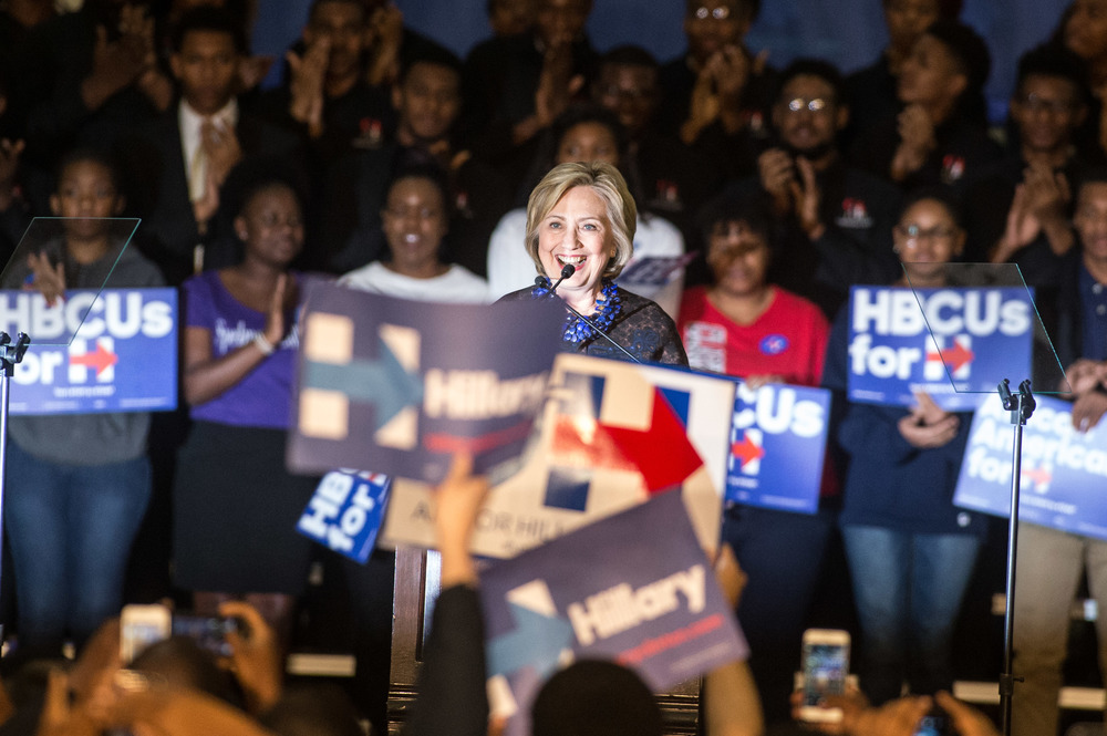 "Democratic presidential candidate Hillary Rodham Clinton speaks at Clark Atlanta University during an ""African Americans for Hillary"" grassroots event in Atlanta, Friday, Oct. 30, 2015.  (Photo by Branden Camp)"
