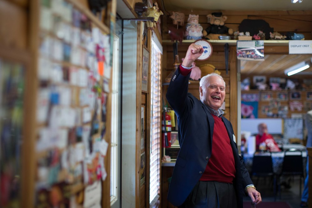 "Joe McCutchen, supporter of Republican presidential candidate Ted Cruz, shouts ""Cruz for President"" after eating lunch at Poole's BBQ, Saturday, Dec. 5, 2015, in Ellijay, Ga.  McCutchen and other supporters hope to host a visit from Ted Cruz at Poole's BBQ in early 2016. BRANDEN CAMP FOR THE BOSTON GLOBE"