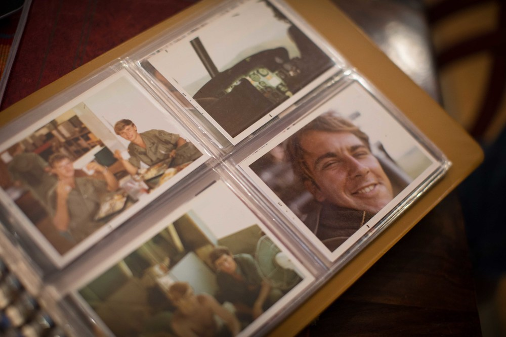 Nov. 11, 2015 - Powder Springs, Ga, U.S - A photo of Vietnam War Army veteran DAVID THOMAS, bottom right, is displayed in a photo album along with other photos that were taken in Vietnam. Thomas deployed to Vietnam from 1970-71. (Credit Image: © Branden Camp via ZUMA Wire)