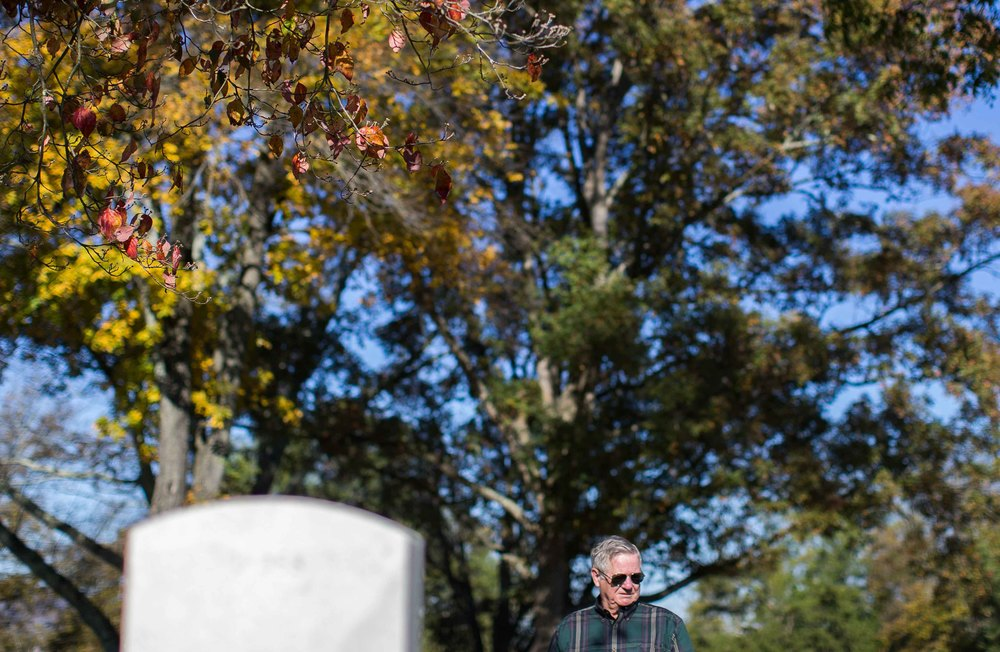 Nov. 11, 2015 - Marietta, Ga, U.S - JACK PORTER, 74, visits the grave of his brother who was killed in action while serving in Vietnam. (Credit Image: © Branden Camp via ZUMA Wire)