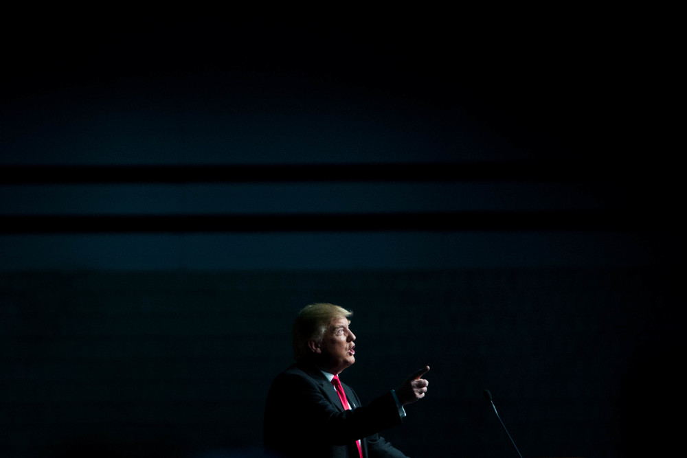 Republican presidential candidate  Donald Trump  speaks during a campaign rally at the Georgia World Congress Center, February 21, 2016 in Atlanta, Georgia. Trump won the South Carolina Republican primary over nearest rivals Sen. Marco Rubio (R-FL) and Sen. Ted Cruz (R-TX).