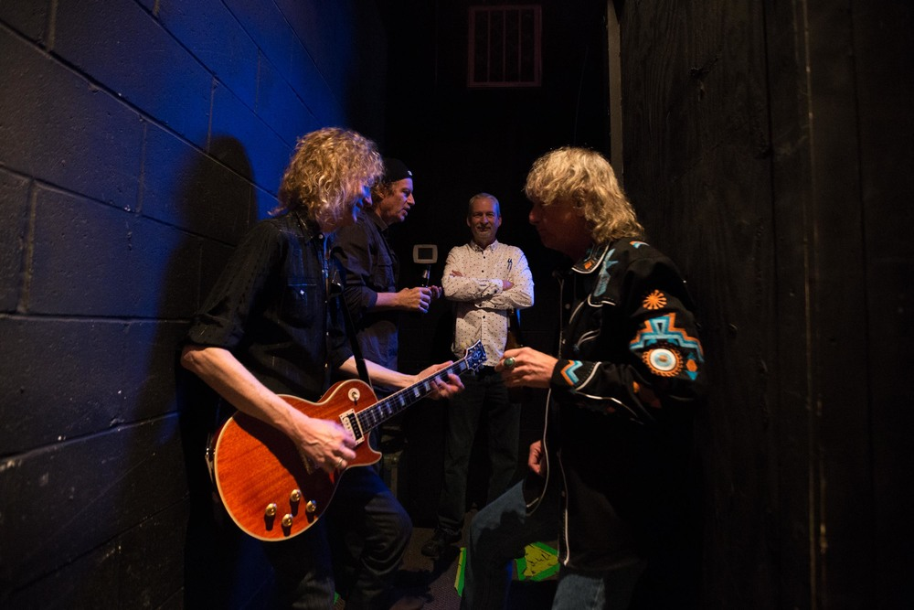 (L-R) Guitarist Peter Stroud, Jimmy Hall, of Wet Wille, Charles Camp, documentary producer, and Stillwater keyboardist Eddie Long wait backstage during a Stillwater reunion show in Macon, Ga.