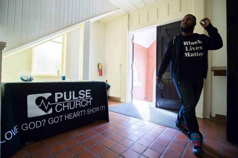 D'Andre Mayberry enters Pulse church before a church service, Sunday, Nov. 13, 2016, in Atlanta. Branden Camp / for NBC News