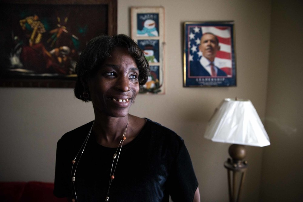 "Cherry Glover, who has a developmental disability, said All About Developmental Disabilities has been a big part of her life. ""They really feel like a family to me, because I never had that,"" said Glover, shown in her Atlanta home. ""And they've really been there to help me just grow and learn, and I never fail … because they've been there for me. They have my back."" Branden Camp for The Atlanta Journal-Constitution"