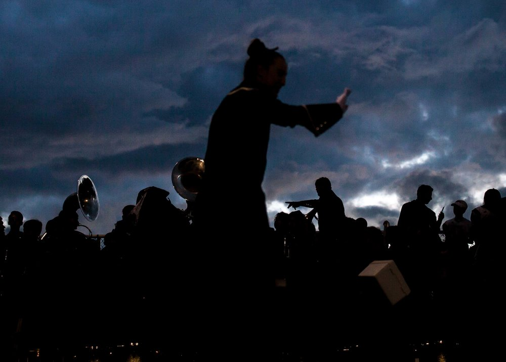 The Harrison High School band performs during a game against North Cobb High School, Friday, Sept. 1, 2017, in Kennesaw, Ga. Branden Camp for The AJC