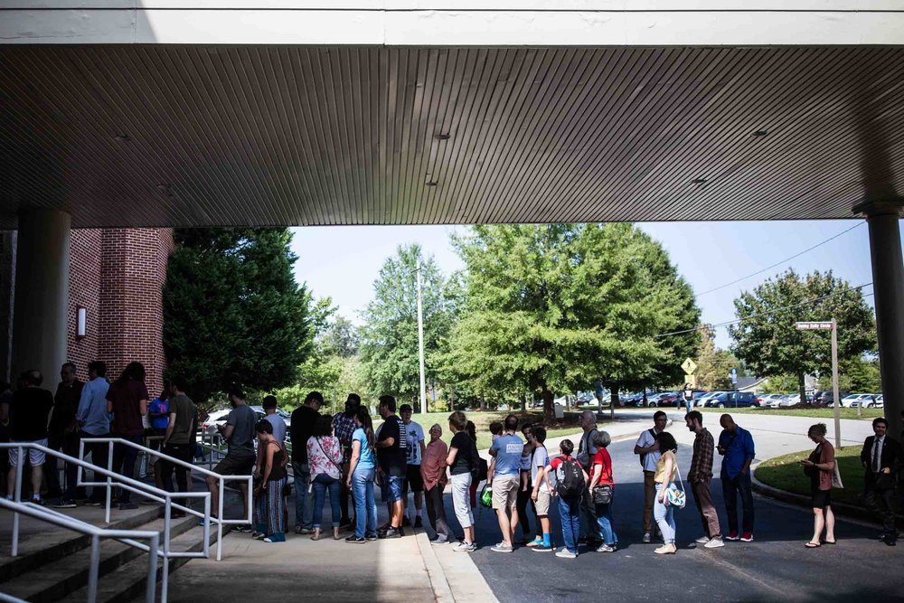 Supporters of Atlanta mayoral candidate line up before a rally. Branden Camp for AJC