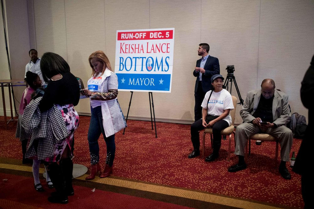 Supporters wait on Keisha Lance Bottoms to arrive for an election party.