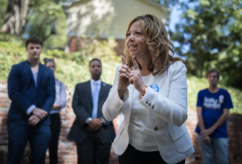 Democratic candidate for 6th District Lucy McBath, who is running against Republican Rep. Karen Handel, speaks to campaign volunteers and supporters, Saturday, Oct. 13, 2018, in Atlanta