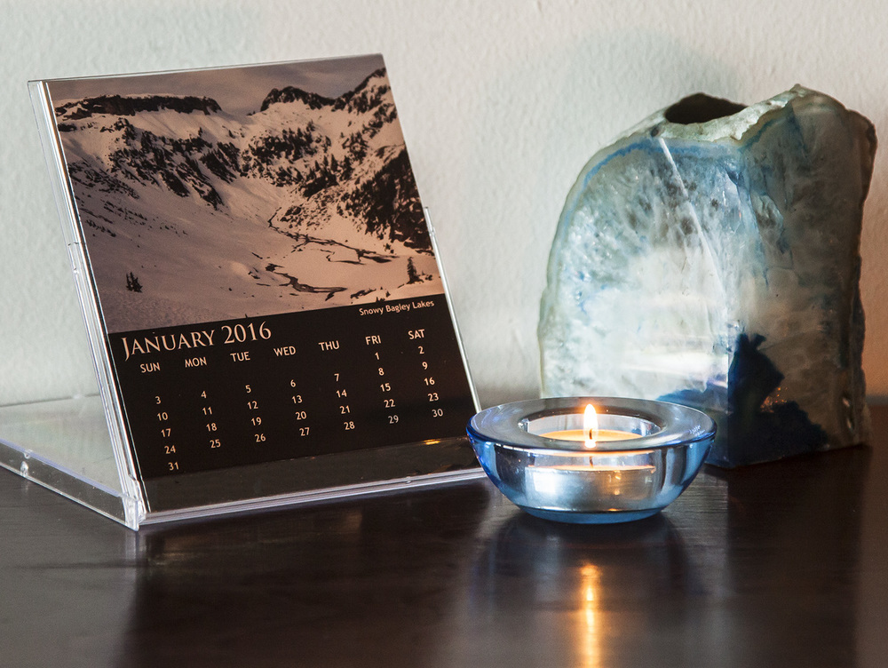 Calendar sits conveniently on a desk, dresser or anywhere - click photo to see 2016 Desktop Calendar photos.