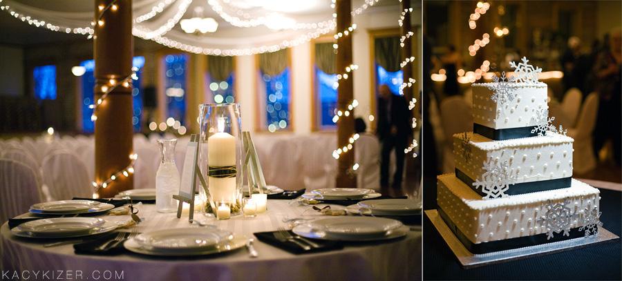 winter wedding Christmas lights, snowflake cake