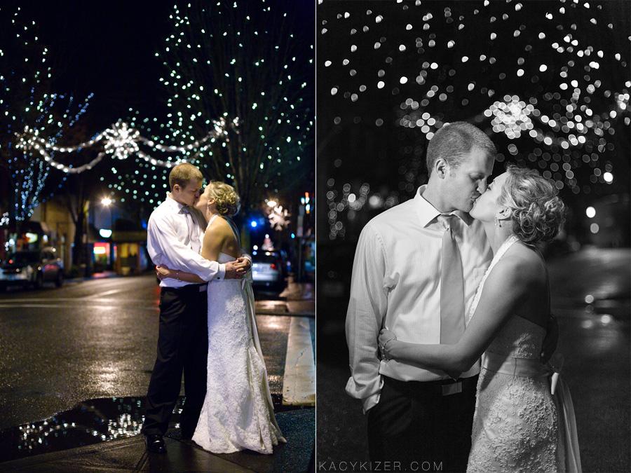 winter wedding Christmas lights