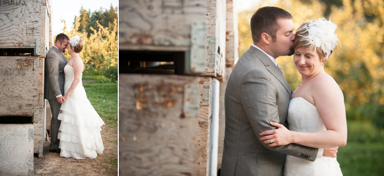 bride and groom at miller farm retreat in hood river