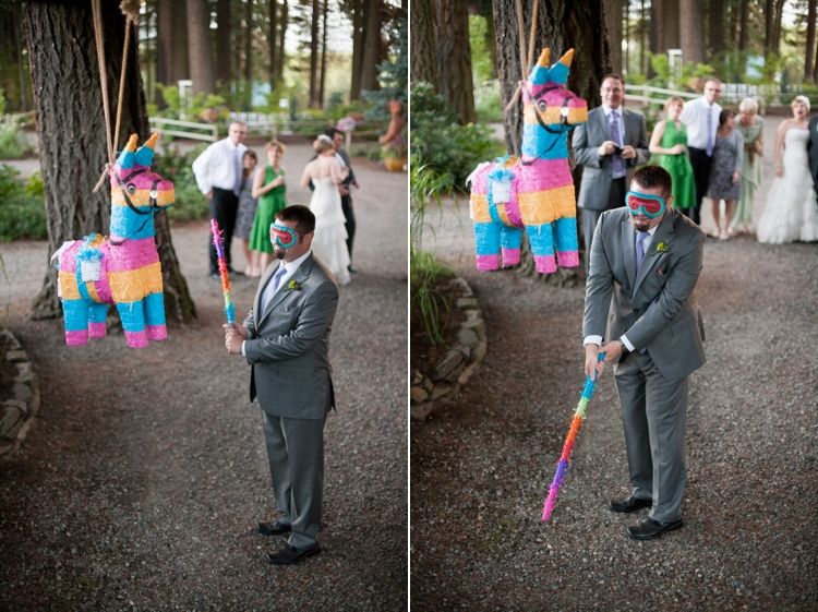 groom hits pinata at miller farm retreat