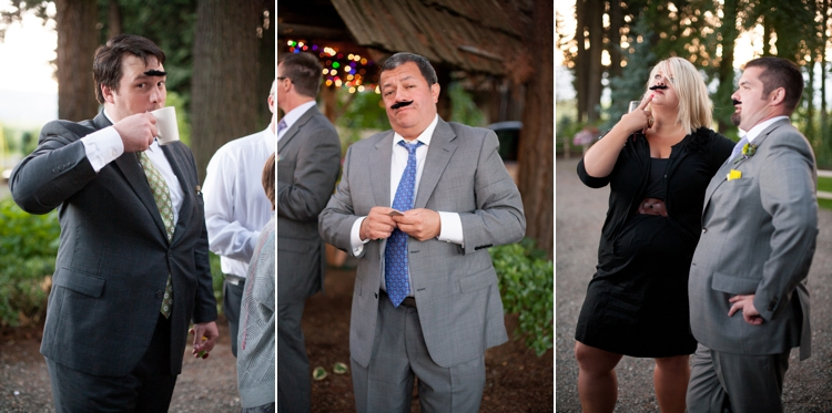 wedding guests wearing mustaches