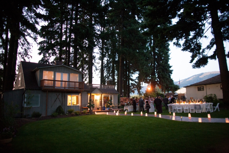 miller farm retreat at dusk in hood river