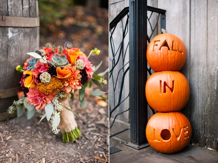 fall wedding bouquet and pumpkins at mcmenamins cornelius pass octagonal barn
