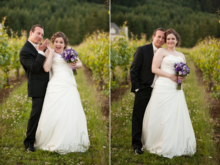 bride and groom in oregon vineyard at cardwell hill cellars