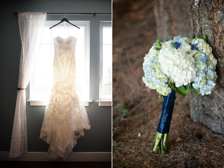 wedding gown in window, bouquet at gorge crest vineyards