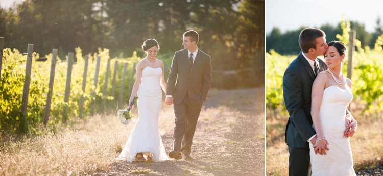 bride and groom at gorge crest vineyards