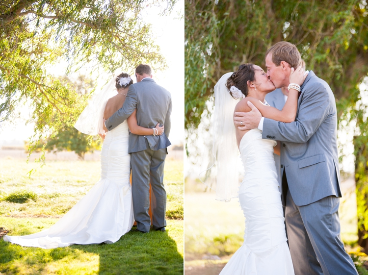 backyard wedding ceremony under willow tree in oregon