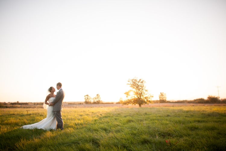 bride and groom in field in harrisburg, oregon
