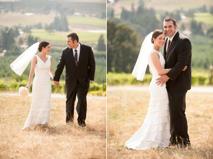 bride and groom at willamette valley vineyards in salem, oregon