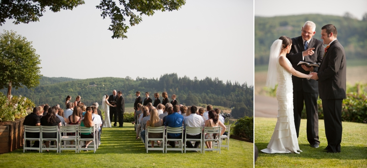 wedding ceremony at willamette valley vineyards in salem, oregon