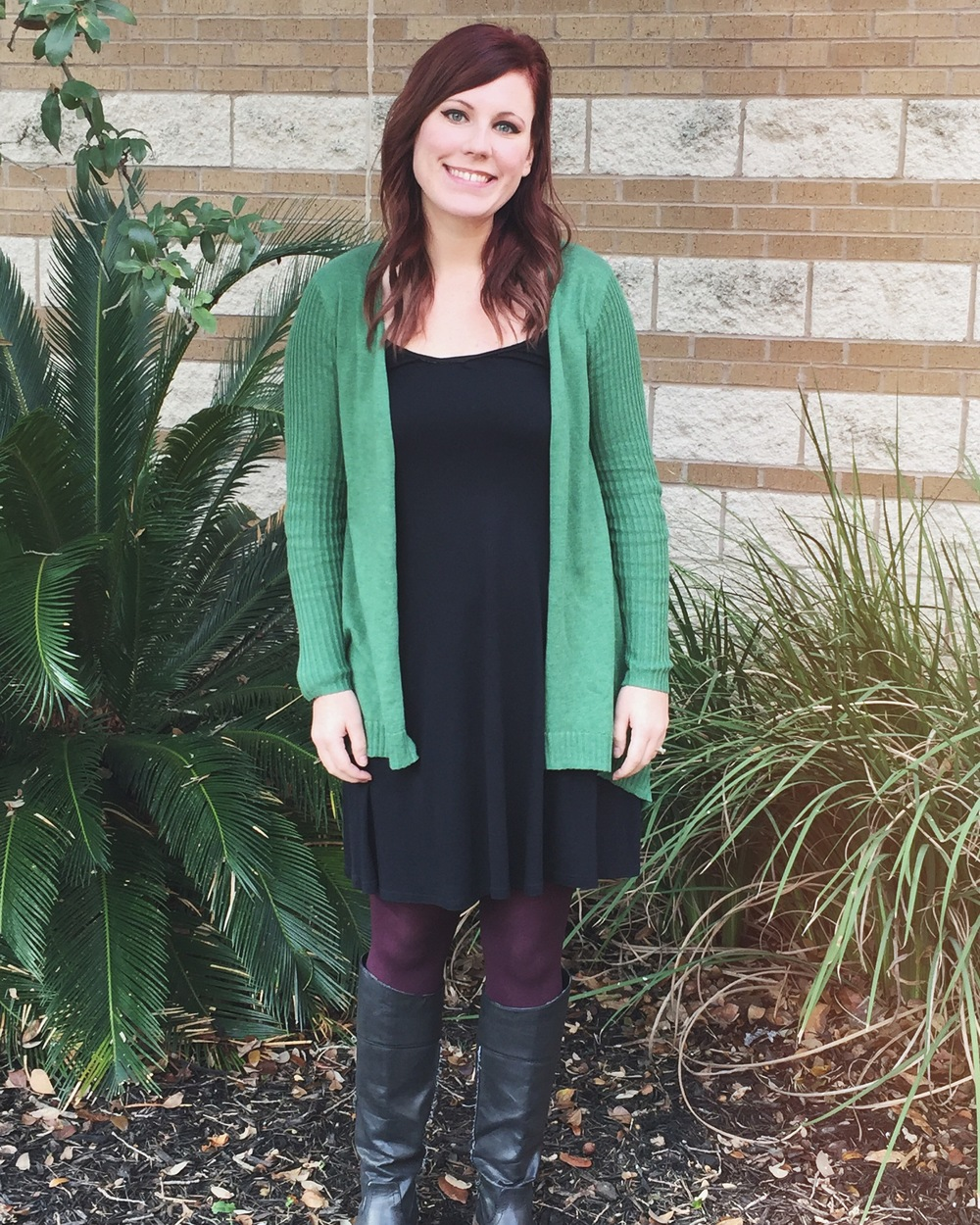 Day 1 - Classic black dress + Red tights + Black boots + Target green cardigan