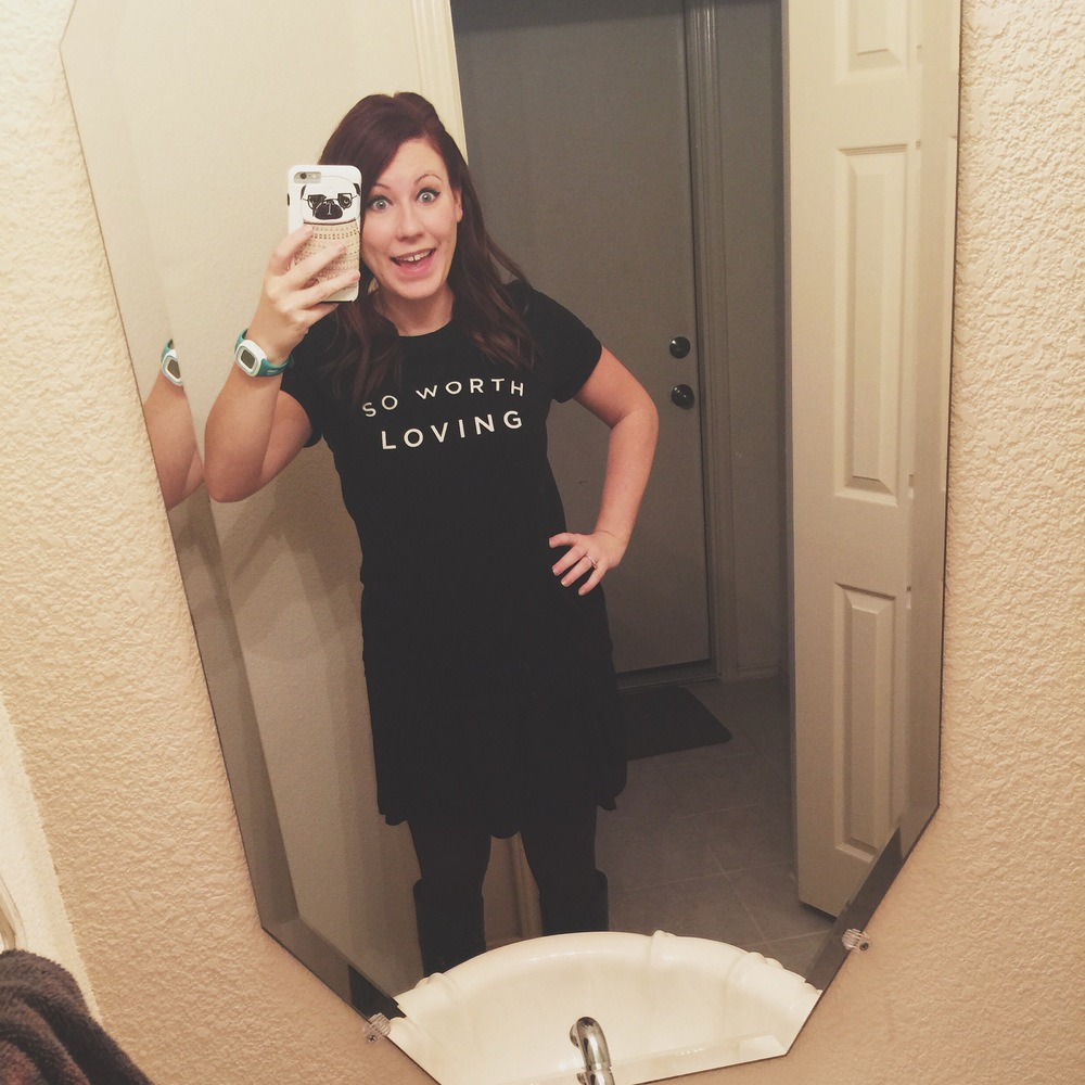 Day 3 - Classic black dress + So Worth Loving tee + Red tights + Black boots