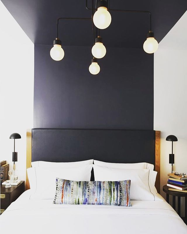 Cool idea to continue the bed head with paint up the wall! #bedroom #bedroominspiration #bedhead #homedecor #renovation #reno #remodel #housetohome #homedecor
