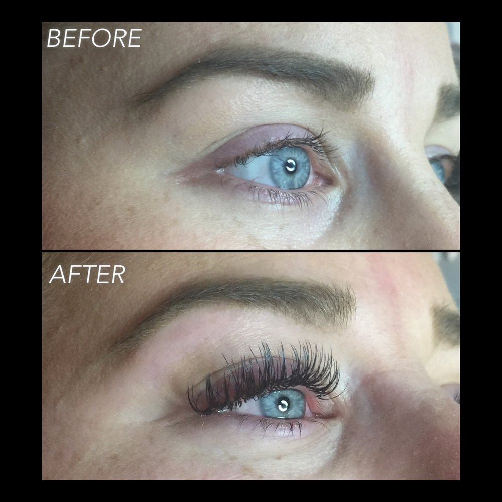 This is the before and after from the picture I used to showcase what damage and improper application looks like. She was a transfer client and I made an executive decision to remove her previous work. Because adhesive remover can cause improper bonding, I had her come back 24 hours later and I applied a fresh new set. Now she has lashes that will live a happy and healthy life!