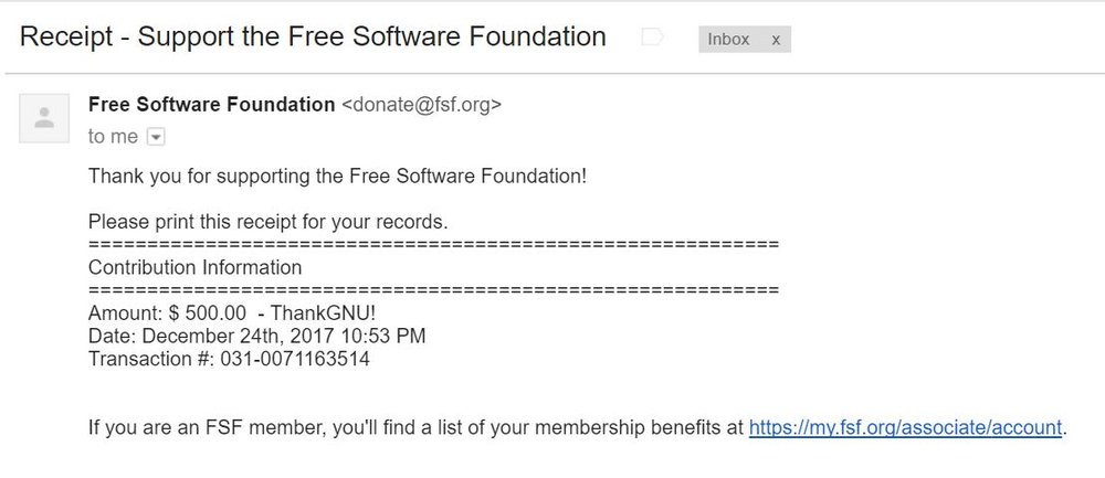 Free Software Foundation 500 dollars.JPG