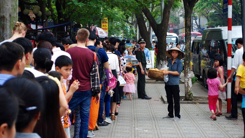 Queuing to visit the Mausoleum of Ho Chi Minh.