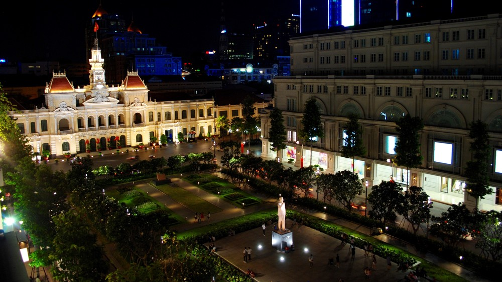 Ho Chi Minh City from the rooftop bar of the Rex Hotel.
