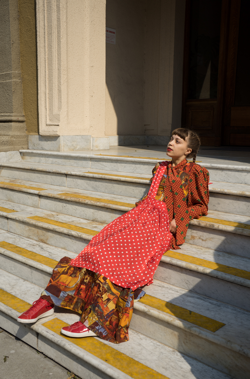 Vintage Oscar de la Renta blouse. Vintage Gauguin print dress. Comme des Garcons single strap jumper. Y-3 Yohji Yamamoto sneakers.